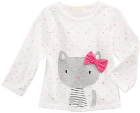 First Impressions Kitty-Print Long-Sleeve Cotton T-Shirt, Baby Girls (0-24 months), Created for Macy's