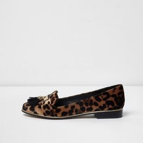 River Island Womens Brown leopard print tassel vlevet loafers