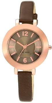 Nine West Rose Gold Tone Grey Strap Watch One Size
