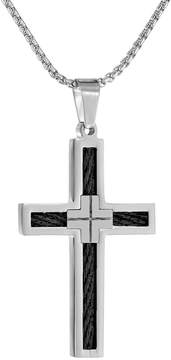 Lynx Stainless Steel Two Tone Cross Pendant Necklace - Men