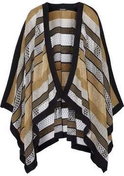 Balmain Metallic Paneled Stretch-Knit Poncho