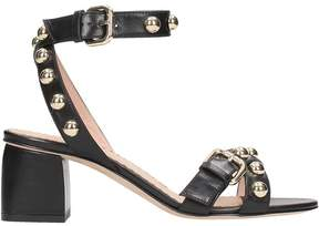RED Valentino Black Leather Studded Sandals