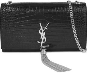 Saint Laurent Monogram croc-embossed leather satchel