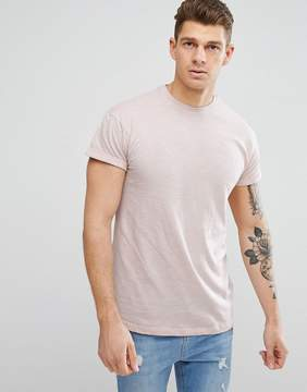 New Look T-Shirt With Rolled Sleeves In Light Pink