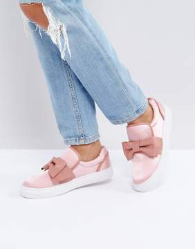 Glamorous Pink Knotted Bow Slip On Sneaker