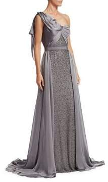 Draped One-Shoulder Gown in mercury