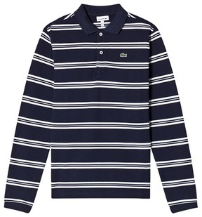 Lacoste Navy and White Long Sleeve Pique Polo