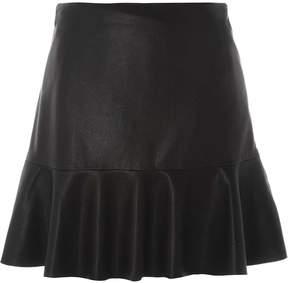 Dorothy Perkins Black Faux Leather Frill Hem Skirt