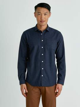 Frank and Oak Windowpane Poplin-Twill Shirt in Navy