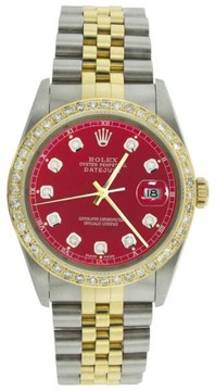 Rolex Datejust 16013 Steel & Yellow Gold Red Diamond Dial Diamond Bezel Watch
