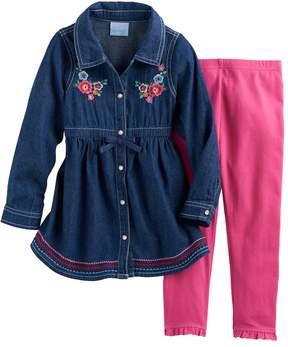 Nannette Baby Girl Embroidered Denim Tunic & Leggings Set