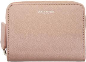 Saint Laurent Pink Rive Gauche Compact Zip Around Wallet - PINK - STYLE