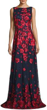 Theia Women's Floral-Print Gown - Red-navy, Size 4