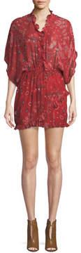 IRO Bamanta Half-Sleeve Paisley-Print Short Dress