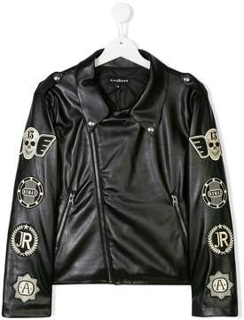 John Richmond Kids Teen patch embroidered biker jacket