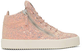 Giuseppe Zanotti SSENSE Exclusive Pink Glitter May London High-Top Sneakers