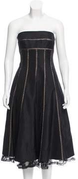 Carmen Marc Valvo Strapless A-Line Dress