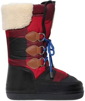 DSQUARED2 Plaid Nylon & Leather Snow Boots