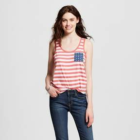 Fifth Sun Women's Americana Stripe and Star Pocket Graphic Tank Navy Juniors')