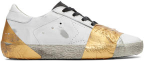 Golden Goose Deluxe Brand White and Gold Tape Skate Superstar Sneakers