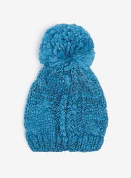 Dorothy Perkins Blue Cable Knit Pompom Beanie Hat