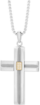 Lynx Men's Gold Tone Stainless Steel Cubic Zirconia Cross Pendant