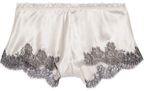 Carine Gilson Chantilly Lace-trimmed Silk-blend Satin Shorts - Cream