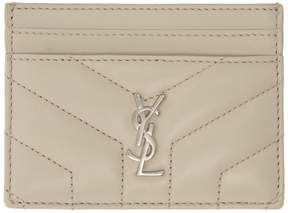 Saint Laurent Ivory Quilted Monogram Card Holder