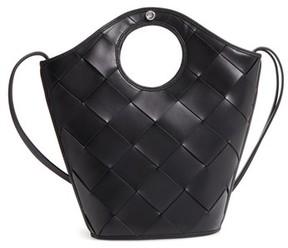 Elizabeth and James Small Market Woven Leather Crossbody Shopper - Black