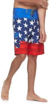 Ocean Current Men's American Flag Tech Cargo Board Shorts