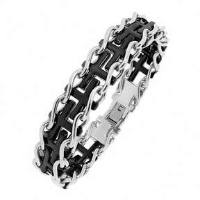 Zales Men's Black IP Railroad Cross Link Bracelet in Stainless Steel - 8.5