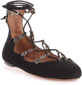 Alaia Black suede lace up ballerina