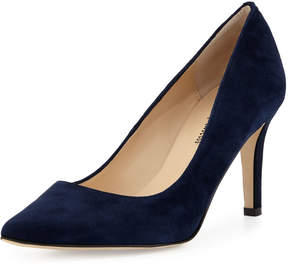 Neiman Marcus Cissy Pointed-Toe Suede Pump, Navy