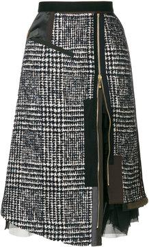 Kolor layered zipped skirt