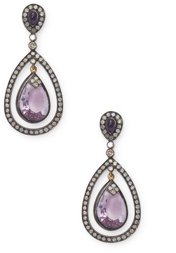 Artisan Women's Elegant Amethyst and Diamond Earring