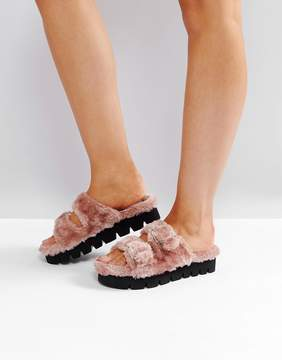 Glamorous Pink Fluffy Buckle Straps Slide Sandals
