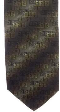 Fendi Zucca Striped Jacquard Tie