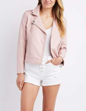 Charlotte Russe Embroidered Faux Leather Bomber Jacket