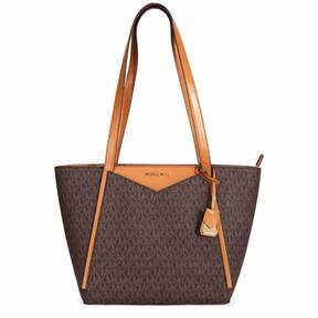 Michael Kors Small Whitney Signature Logo Tote - Brown - BROWNS - STYLE