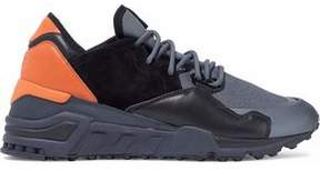 Y-3 Color-Block Suede Mesh And Leather Sneakers