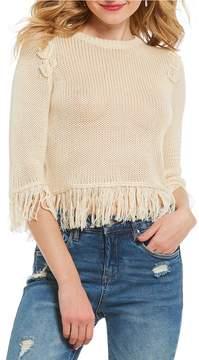 Chelsea & Violet Fringe Hem Crop Sweater