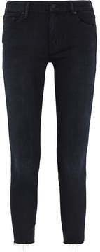 Mother Looker Frayed High-rise Skinny Jeans - Black