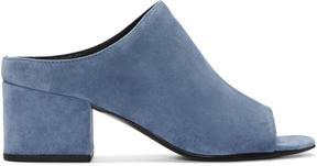 3.1 Phillip Lim Blue Suede Cube Slip-On Sandals
