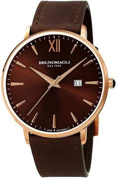 Bruno Magli Men's Swiss Made Ronda Quartz 505 Roma Watch, 42mm