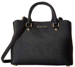 Michael Kors Black Savannah Medium Black Satchel Handbag - ONE COLOR - STYLE