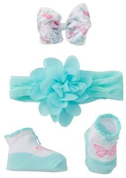 Little Me Chiffon Flower Headband, Booties, & Clip (Baby Girls)