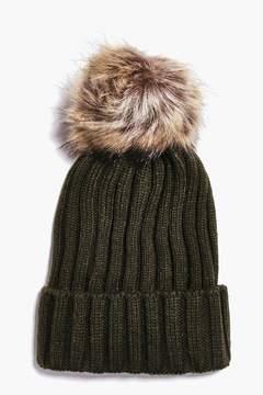 boohoo Rib Knit Faux Fur Pom Beanie Hat
