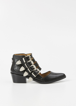 Toga Black Buckle Ankle Boot