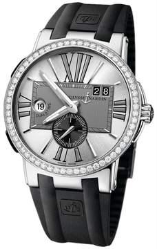 Ulysse Nardin Executive Dual Time Silver Dial Diamond Bezel Black Rubber Men's Watch 243-00B-3-421