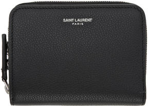 Saint Laurent Black Rive Gauche Compact Zip Around Wallet